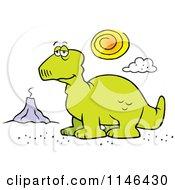 Depressed Dinosaur And Volcano
