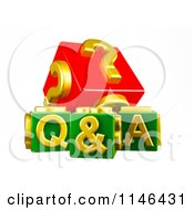Clipart Of 3d Red Gold And Green Q And A Cubes Royalty Free CGI Illustration by MacX
