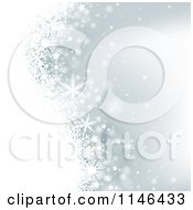 Clipart Of A Silver Christmas Winter Snowflake Background Royalty Free Vector Illustration