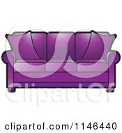 Clipart Of A Purple Sofa Royalty Free Vector Illustration by Lal Perera