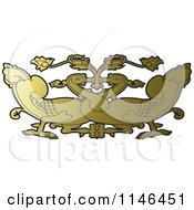 Clipart Of A Gold Asian Swan Design Royalty Free Vector Illustration by Lal Perera