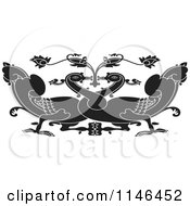 Clipart Of A Black And White Asian Swan Design Royalty Free Vector Illustration by Lal Perera