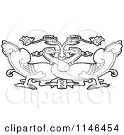 Clipart Of An Outlined Asian Swan Design Royalty Free Vector Illustration by Lal Perera