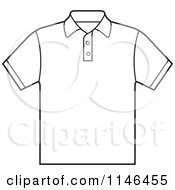 Clipart Of An Outlined Mens Polo Shirt Royalty Free Vector Illustration by Lal Perera