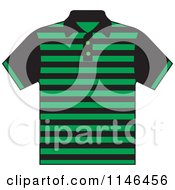 Clipart Of A Green And Black Striped Mens Polo Shirt Royalty Free Vector Illustration by Lal Perera