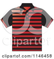 Clipart Of A Red And Black Striped Mens Polo Shirt Royalty Free Vector Illustration by Lal Perera