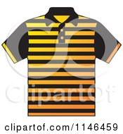 Clipart Of A Yellow And Black Striped Mens Polo Shirt Royalty Free Vector Illustration by Lal Perera