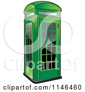 Clipart Of A Green Telephone Booth Royalty Free Vector Illustration