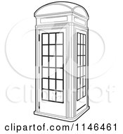Clipart Of An Outlined Telephone Booth Royalty Free Vector Illustration