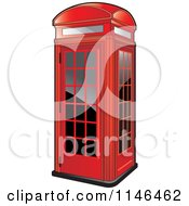 Clipart Of A Red Telephone Booth Royalty Free Vector Illustration