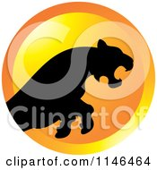Clipart Of A Leaping Puma Or Tiger Icon 2 Royalty Free Vector Illustration by Lal Perera