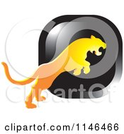 Clipart Of A Leaping Puma Or Tiger Icon 4 Royalty Free Vector Illustration by Lal Perera