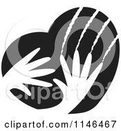 Clipart Of Black And White Violent Hands Scratching A Heart Royalty Free Vector Illustration