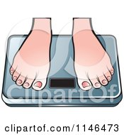 Clipart Of A Pair Of Feet On A Weight Scale Royalty Free Vector Illustration