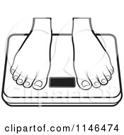 Clipart Of A Pair Of Outlined Feet On A Weight Scale Royalty Free Vector Illustration by Lal Perera