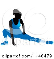 Clipart Of A Silhouetted Gymnast Woman Stretching In A Blue Leotard Royalty Free Vector Illustration by Lal Perera