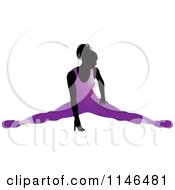 Clipart Of A Silhouetted Gymnast Woman Stretching In A Purple Leotard Royalty Free Vector Illustration by Lal Perera