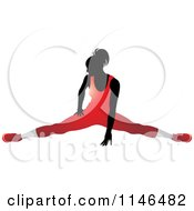 Clipart Of A Silhouetted Gymnast Woman Doing The Splits In A Red Leotard Royalty Free Vector Illustration by Lal Perera