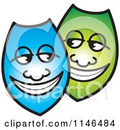 Clipart Of Happy Blue And Green Shields Or Masks Royalty Free Vector Illustration by Lal Perera