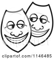 Clipart Of Happy Black And White Shields Or Masks Royalty Free Vector Illustration by Lal Perera