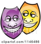 Clipart Of Happy Purple And Yellow Shields Or Masks Royalty Free Vector Illustration by Lal Perera