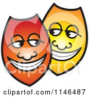 Clipart Of Happy Red And Yellow Shields Or Masks Royalty Free Vector Illustration by Lal Perera