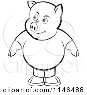 Clipart Of A Chubby Black And White Pig In Clothes Royalty Free Vector Illustration by Lal Perera
