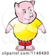 Clipart Of A Chubby Pig In A Yellow Shirt Royalty Free Vector Illustration by Lal Perera