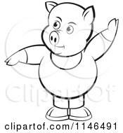 Clipart Of A Chubby Black And White Pig In Clothes With One Hand Up Royalty Free Vector Illustration by Lal Perera