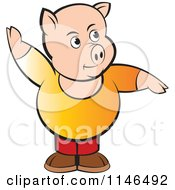 Clipart Of A Chubby Pig With One Arm Up Royalty Free Vector Illustration by Lal Perera