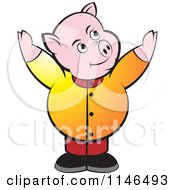 Clipart Of A Chubby Pig With Both Arms Up Royalty Free Vector Illustration by Lal Perera