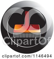 Clipart Of A Red Push Broom On A Black Circle Royalty Free Vector Illustration by Lal Perera