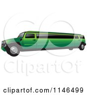 Clipart Of A Green Hummer Stretch Limo Royalty Free Vector Illustration by Lal Perera