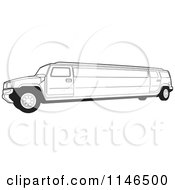 Clipart Of A Black And White Hummer Stretch Limo Royalty Free Vector Illustration by Lal Perera