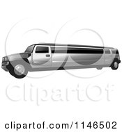 Clipart Of A Silver Hummer Stretch Limo Royalty Free Vector Illustration