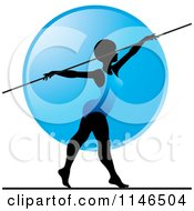 Clipart Of A Silhouetted Gymnast Woman On A Balance Beam Over A Blue Circle Royalty Free Vector Illustration by Lal Perera