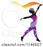 Clipart Of A Silhouetted Gymnast Woman Ribbon Dancing In A Purple Leotard Royalty Free Vector Illustration by Lal Perera