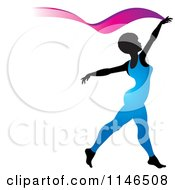 Clipart Of A Silhouetted Gymnast Woman Ribbon Dancing In A Blue Leotard Royalty Free Vector Illustration by Lal Perera
