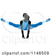 Clipart Of A Silhouetted Gymnast Woman Balancing On Her Hands In A Blue Leotard Royalty Free Vector Illustration by Lal Perera