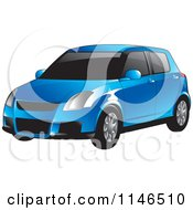 Clipart Of A Blue Car Royalty Free Vector Illustration