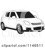 Clipart Of A Black And White Car Royalty Free Vector Illustration