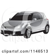 Clipart Of A Silver Car Royalty Free Vector Illustration
