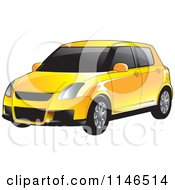 Clipart Of A Yellow Car Royalty Free Vector Illustration