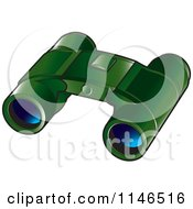 Clipart Of A Pair Of Green Binoculars Royalty Free Vector Illustration by Lal Perera