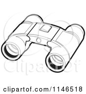 Clipart Of A Pair Of Black And White Binoculars Royalty Free Vector Illustration by Lal Perera