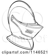Clipart Of A Black And White Armour Knights Helmet Royalty Free Vector Illustration by Lal Perera