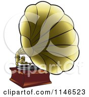 Clipart Of A Golden Gramophone Royalty Free Vector Illustration