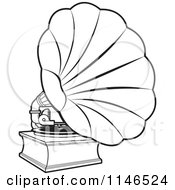 Clipart Of A Black And White Gramophone Royalty Free Vector Illustration by Lal Perera