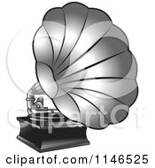 Clipart Of A Silver Gramophone Royalty Free Vector Illustration