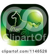 Clipart Of A Green Running Horse Icon Royalty Free Vector Illustration